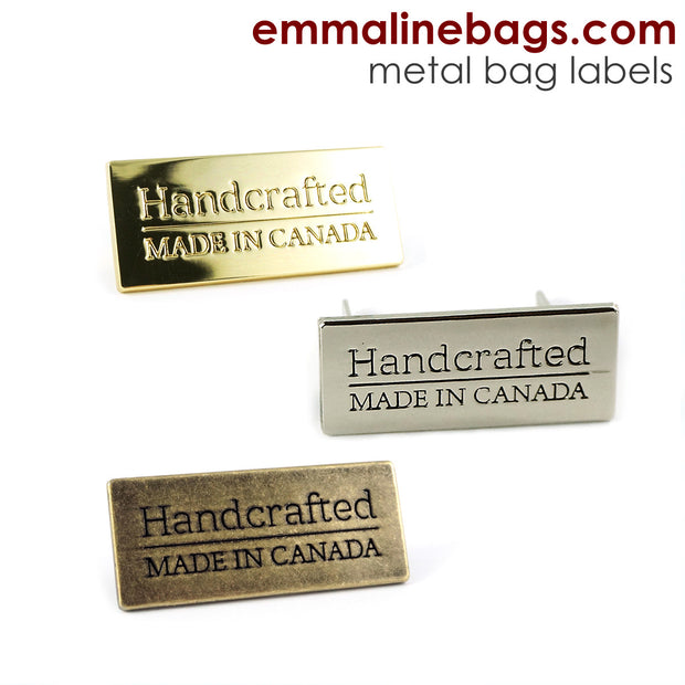 "Metal Bag Label: ""Handcrafted - Made in Canada"""