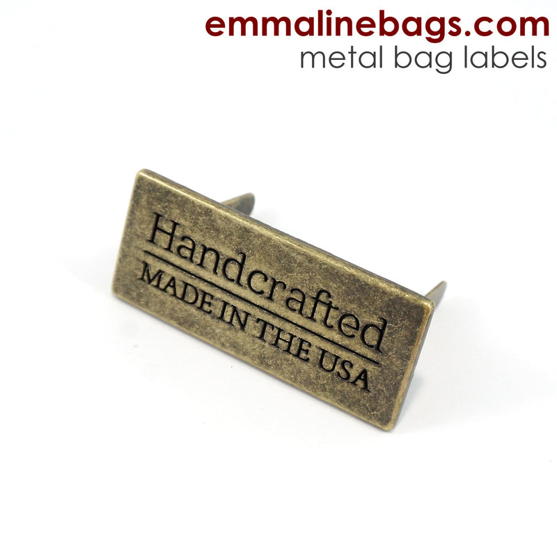 "Metal Bag Label: ""Handcrafted - Made in the USA"""