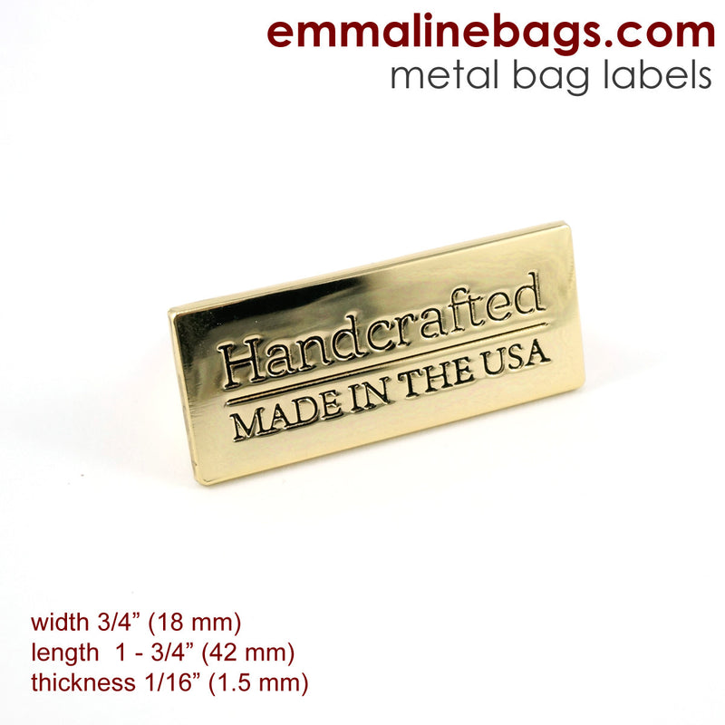 "Gold Metal Bag Labels for Handbags with ""Made in the USA""."
