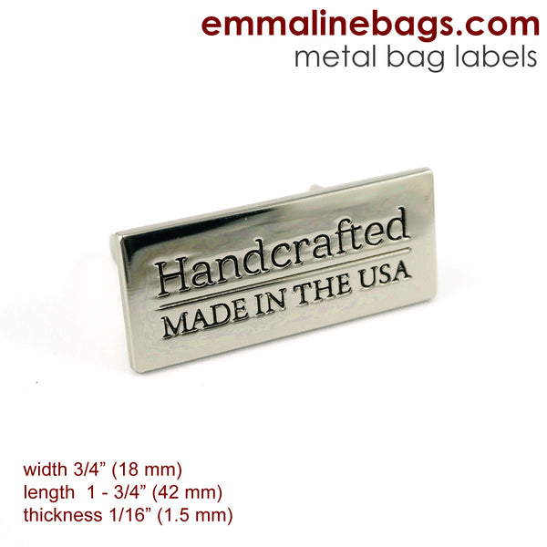 "Nickel Metal Bag Labels for Handbags with ""Made in the USA""."