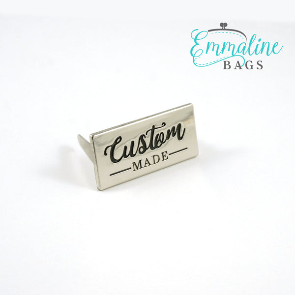 "Metal Bag Label: ""Custom Made"" - Large"