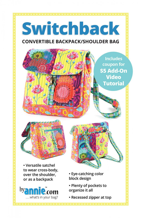 Switchback Convertible Backpack/Shoulder Bag from By Annie (Printed Paper Pattern)