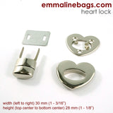 Heart Shaped Bag Lock - Nickel Finish