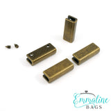 "Rectangular Strap End Caps (1"" wide) in Antique Brass - 4 Pack"