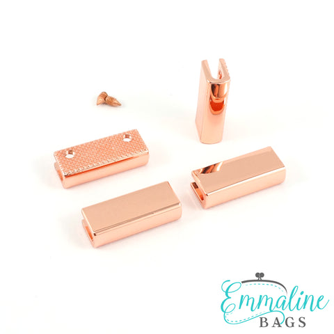 "Rectangular Strap End Caps (1"" wide) in Copper - 4 Pack"