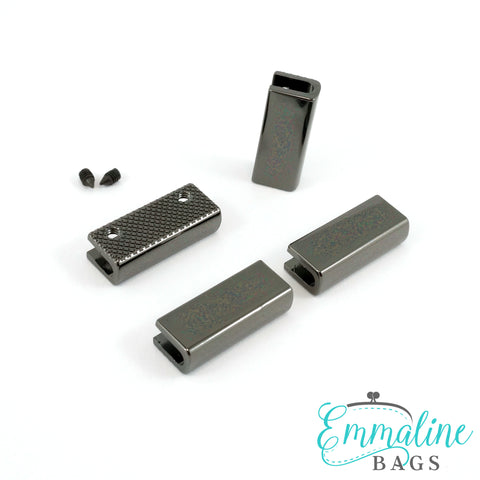 "Rectangular Strap End Caps (1"" wide) in Gunmetal - 4 Pack"