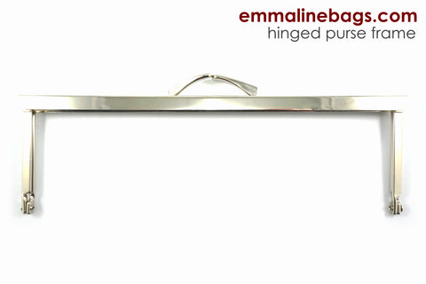 "Rectangular, Hinged Purse Frame 8"" x 2.5"" - Nickel"