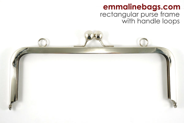 "Rectangular Purse Frame 8"" WITH LOOPS - Nickel"