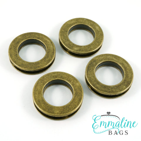 "Screw Together Grommets: 3/4"" Round in Antique Brass (4 Pack)"
