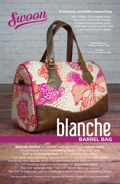 Blanche Barrel Bag by Swoon Sewing Patterns (Printed Paper Pattern)