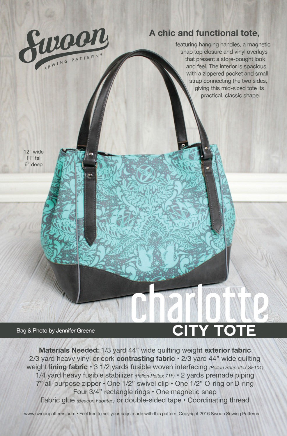 Charlotte City Tote by Swoon Sewing Patterns (Printed Paper Pattern ...