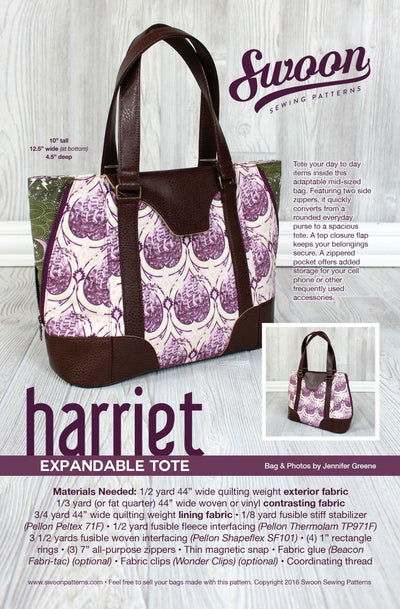 Harriet Expandable Tote by Swoon Sewing Patterns (Printed Paper Pattern)