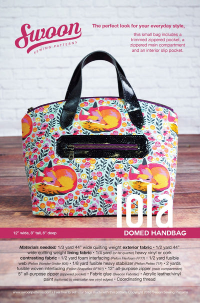 Lola Domed Handbag by Swoon Sewing Patterns (Printed Paper Pattern)