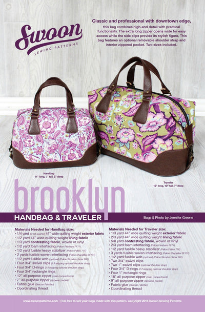 Brooklyn Handbag & Traveler by Swoon Sewing Patterns (Printed Paper Pattern)