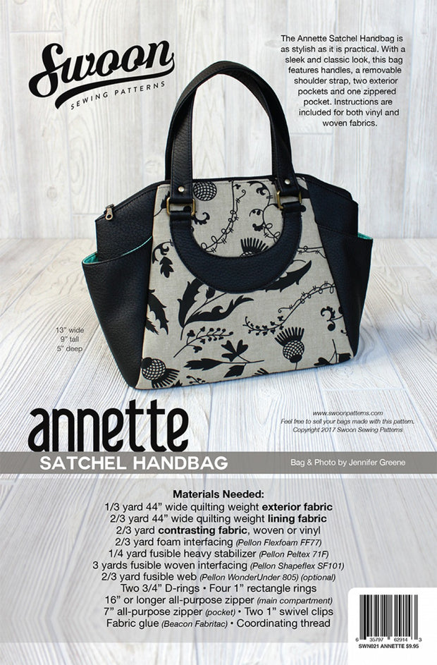 Annette Satchel Handbag by Swoon Sewing Patterns (Printed Paper Pattern)