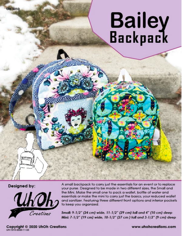 Bailey Backpack by UhOh Creations (Printed Paper Pattern)