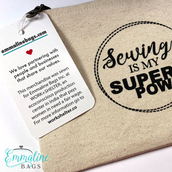 """Sewing is my Super Power"" Organic Cotton Zipper Pouch"