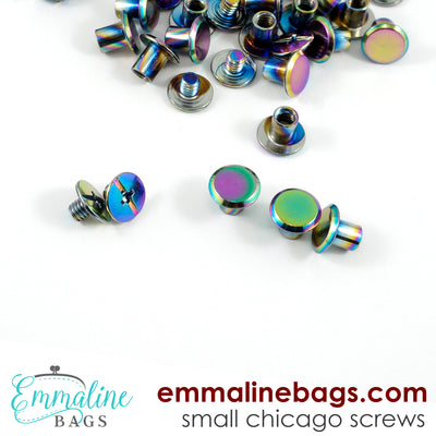 "CHICAGO SCREWS :  SMALL Size (3/16"" or 4 mm) in IRIDESCENT RAINBOW (20 Pack)"