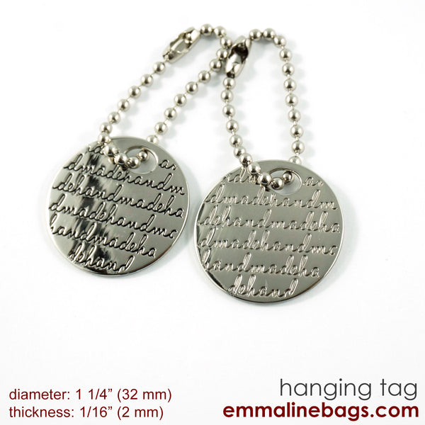 "Metal Hanging Tag: Small Circle ""handmade"" in Nickel Alternate View"