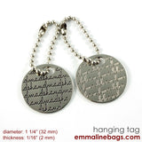 "Metal Hanging Tag: Small Circle ""handmade"" in Nickel"