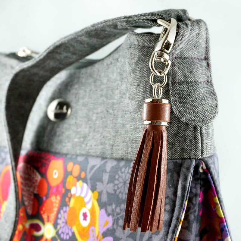 Tassel Cap for leather with hook in nickel finish by Emmaline Bags.