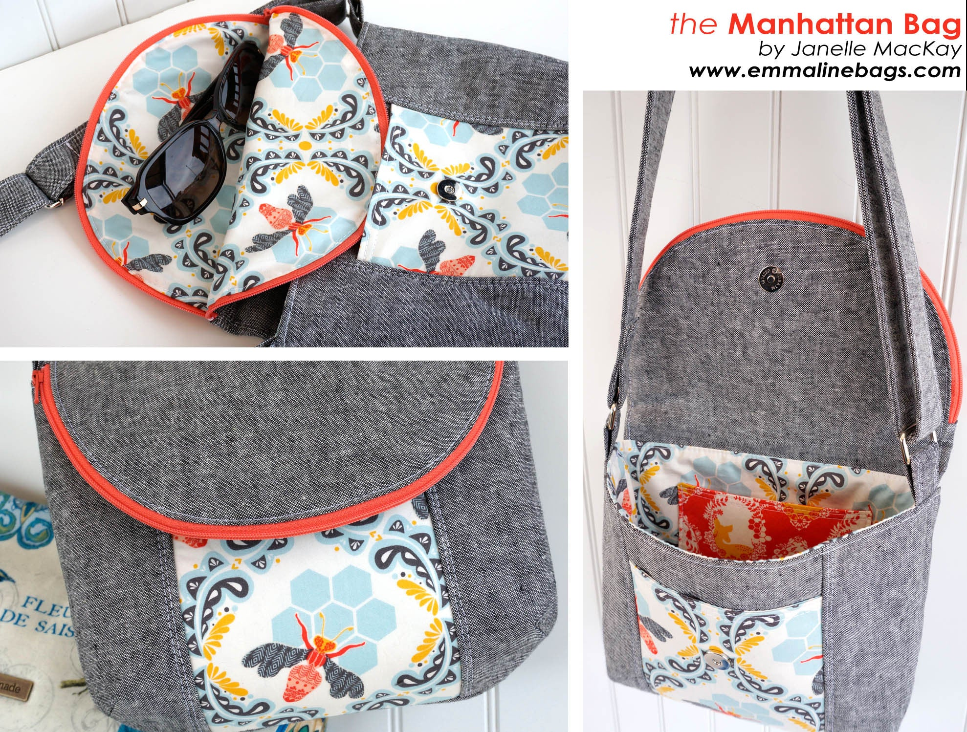 The Manhattan Bag Paper Pattern by Emmaline Bags