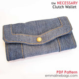 The Necessary Clutch Wallet in Denim