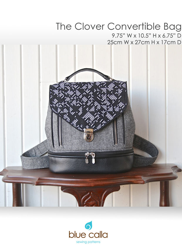 Clover Convertible Bag by Blue Calla Sewing Patterns (Printed Paper Pattern)