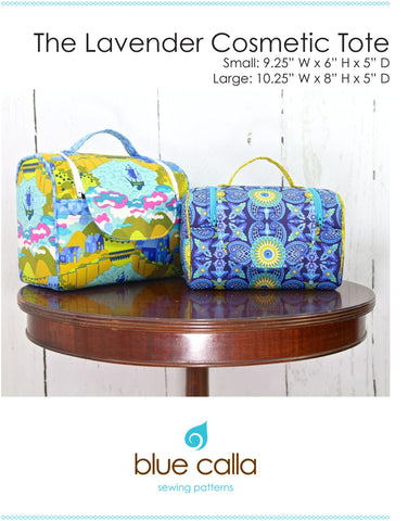 Lavender Cosmetic Tote by Blue Calla Sewing Patterns (Printed Paper Pattern)