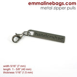 "Zipper Pulls: ""handcrafted"" in 5 Finishes ($1.79 - $2.49)"