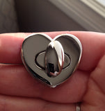 Heart Shaped Bag Lock - Nickel Finish Detail