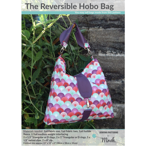 Reversible Hobo Bag by Sewing Patterns by Mrs H (Printed Paper Pattern)
