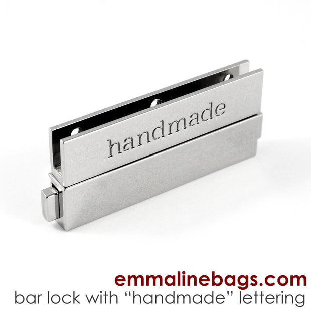"Large Bar Lock with ""handmade"" Lettering in 2 Finishes"