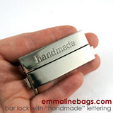 "Large Bar Lock with ""handmade"" Lettering in Nickel Finish"