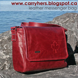 "Metal Bag Label: ""handmade"" in Nickel Finish on Red Leather Purse"