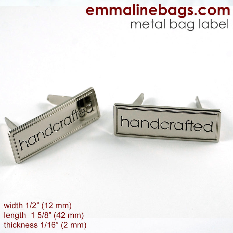 "Metal Bag Label: ""Handcrafted"" with Border"