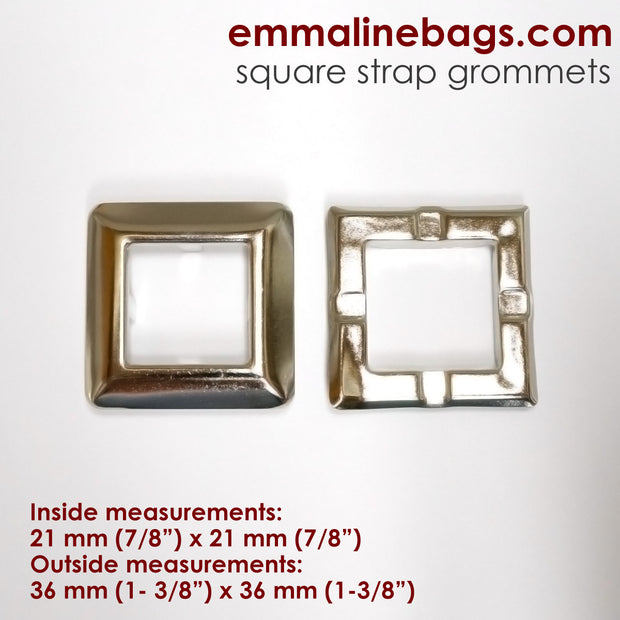 Grommets: Square in Nickel (4 Pack)