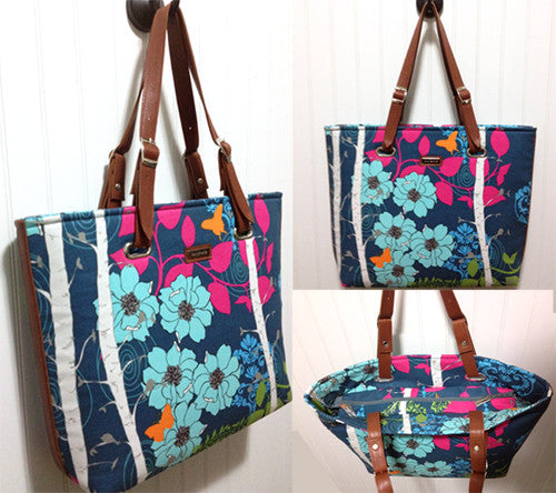 The Totes Ma Tote Blue and Coral Flower Pattern