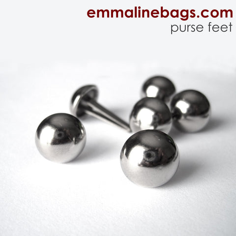 "Domed Purse Feet: 1/2"" in Nickel finish"