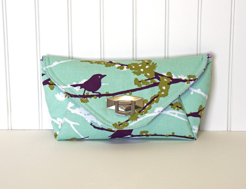 The Quarter Note Clutch Turquoise Birds