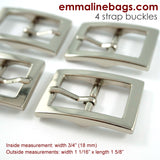 "Buckles:  3/4"" (18 mm) in Nickel Finish (4 Pack)"