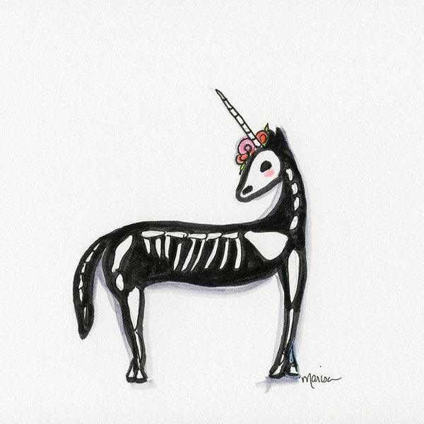 #12 Dia De Los Unicorn | Original Ink Drawing