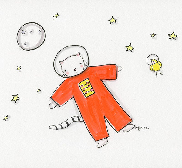 #14 Space Kitty and Space Bird | Original Ink Drawing