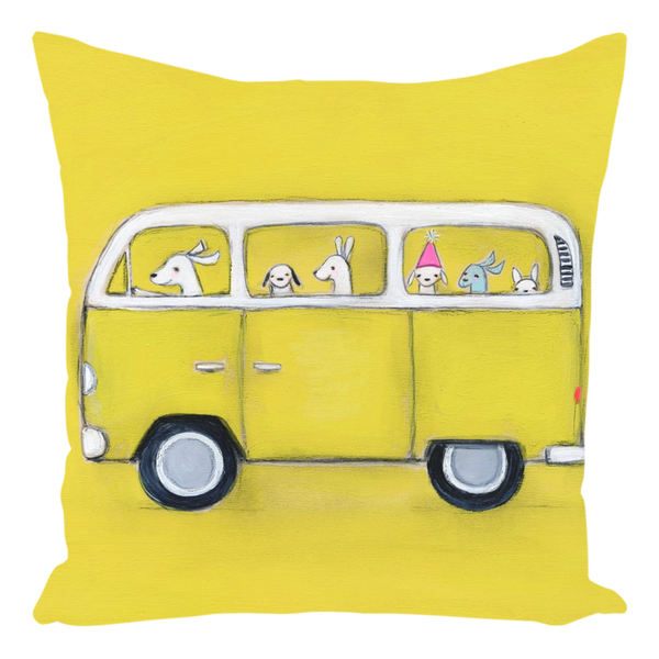 Yellow VW Throw Pillow