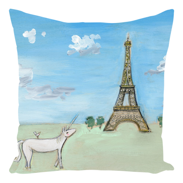 Paris Unicorn Throw Pillow