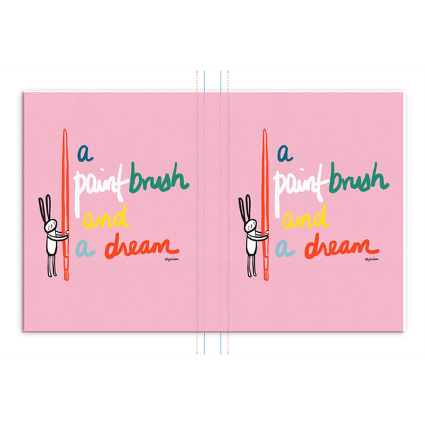 A Paint Brush and a Dream on Pink | Hard Cover Journal