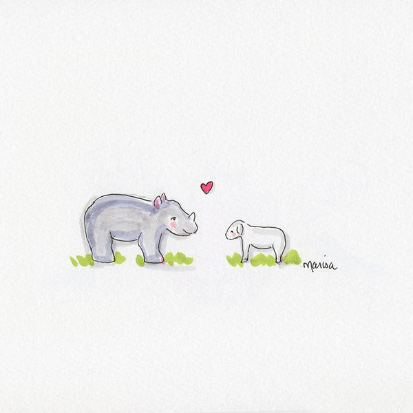 #19 The Rhino and the Lamb | Original Ink Drawing
