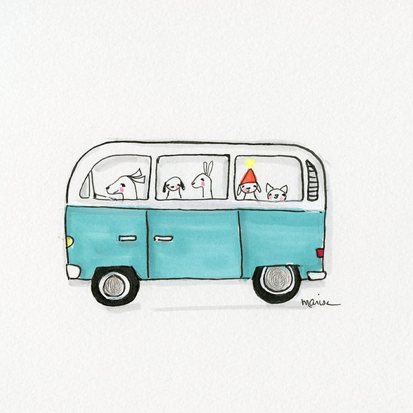 #7 Turquoise VW | Original Ink Drawing