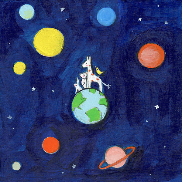 a bunny, a bear, a giraffe and a bird on the moon  | original