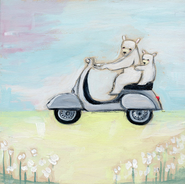 bears on a vespa | canvas or mini framed canvas | 1 of each available